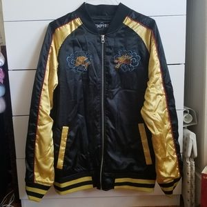 Black and Gold Embroidered Zip Jacket